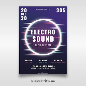Plantilla de póster de música electrónica con efecto de falla