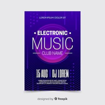 Plantilla de póster de música electrónica púrpura