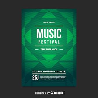 Plantilla de poster de música con formas geométricas