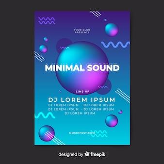 Plantilla de poster de música con formas líquidas
