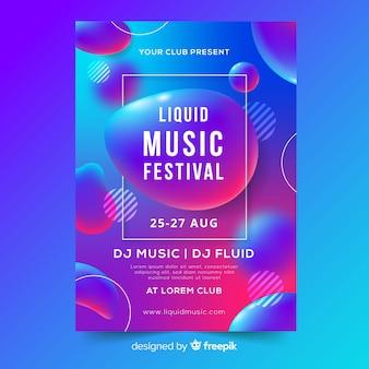 Plantilla de poster de música con formas líquido