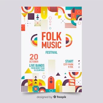 Plantilla de póster de música geométrica abstracta colorida