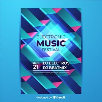 Plantilla de póster de música geométrica colorida