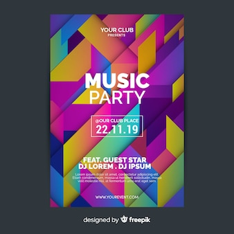 Plantilla de póster de música geométrica