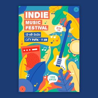 Plantilla de póster de música indie