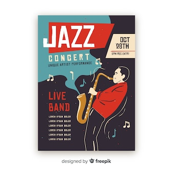 Plantilla de póster de música jazz abstracta