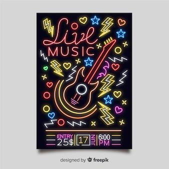 Plantilla de poster de música con luces de neón