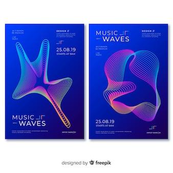 Plantilla de poster de música con ondas de sonido