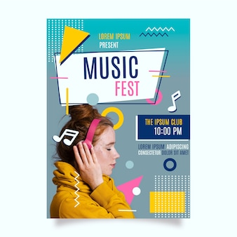 Plantilla de póster de música con plantilla