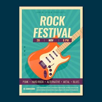 Plantilla de póster de música retro con guitarra eléctrica