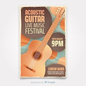 Plantilla de póster de música retro con guitarra