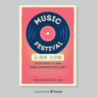 Plantilla de póster de música retro