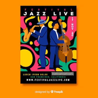 Plantilla de póster de música en vivo de jazz dibujado a mano