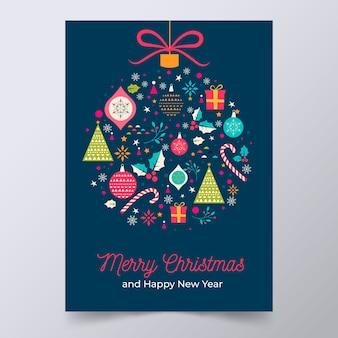 Plantilla de póster de navidad con coloridas formas geométricas
