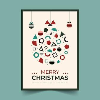 Plantilla de póster de navidad con formas geométricas