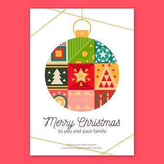 Plantilla de póster de navidad con modelos geométricos