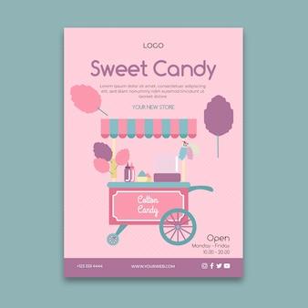 Plantilla de póster de negocios de barra de caramelo rosa