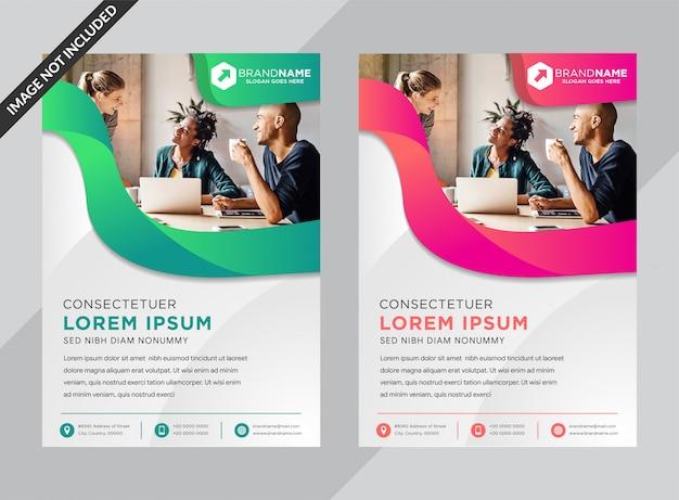 Plantilla de póster de negocios con formas de degradado verde y rosa