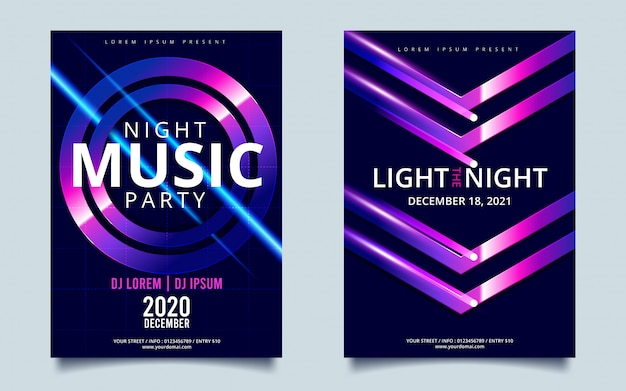 Plantilla de póster de noche de fiesta de baile nocturno