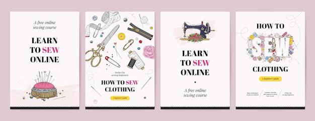 Plantilla de póster o volante del curso de costura