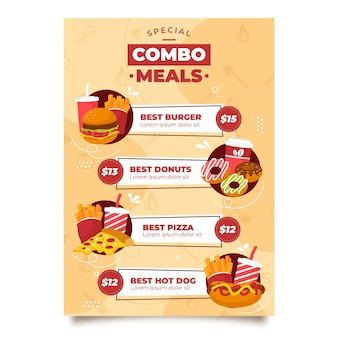 Plantilla de póster de oferta de comidas combinadas