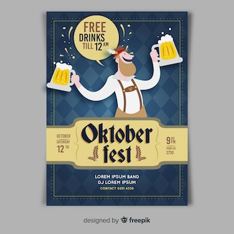 Plantilla de póster del oktoberfest dibujado a mano