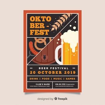 Plantilla de póster del oktoberfest en diseño plano