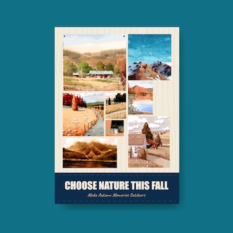 Plantilla de póster con paisaje en diseño de otoño. temporada de otoño