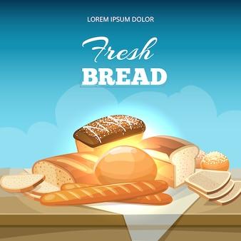 Plantilla de póster de pan y panadería