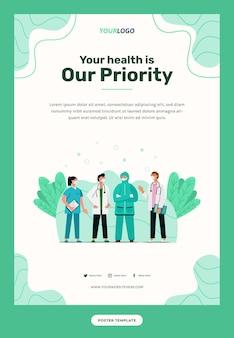 Plantilla de póster, personaje de ilustración con el equipo médico que se puede utilizar para impresión, infografía, presentación