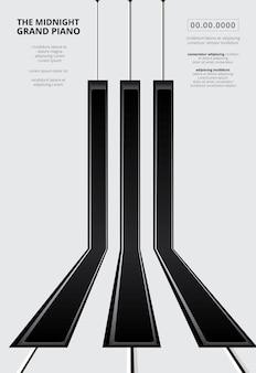 Plantilla de póster de piano de cola musical