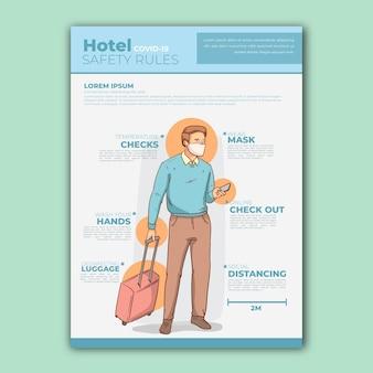 Plantilla de póster de prevención de coronavirus para hoteles