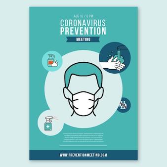 Plantilla de póster para la prevención del coronavirus