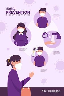 Plantilla de póster de prevención de covid-19 para tiendas