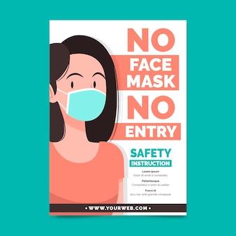 Plantilla de póster con prevención de máscara médica
