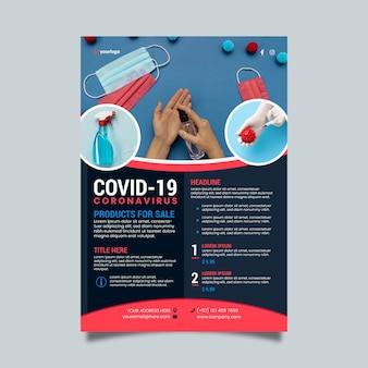 Plantilla de póster de productos médicos de coronavirus con foto