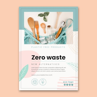 Plantilla de póster de productos sin plástico sin residuos cero