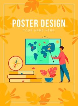 Plantilla de póster de profesor de geografía en clase