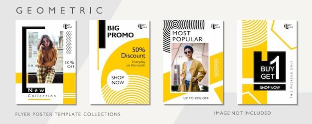 Plantilla de póster de promoción de moda geométrica