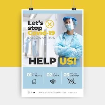 Plantilla de póster de prueba y foto de coronavirus