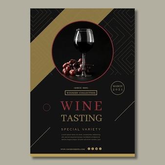 Plantilla de póster publicitario de cata de vinos