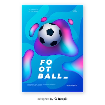 Plantilla de poster realista y degradado de pelota de fútbol