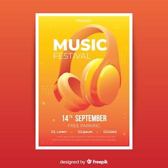 Plantilla de poster realista de festival de música