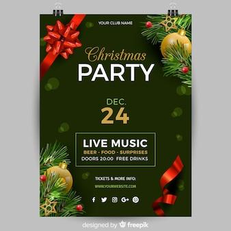 Plantilla de póster realista para fiesta de navidad