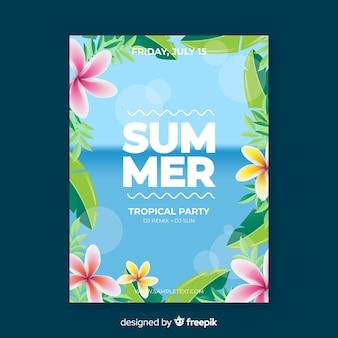 Plantilla de póster realista de fiesta de verano