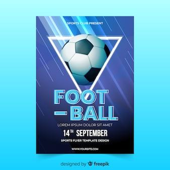 Plantilla de poster realista de pelota de fútbol