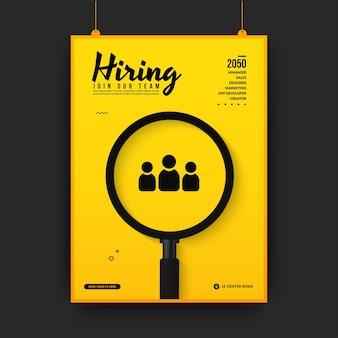 Plantilla de póster de redes sociales de vacante de trabajo mínima, estamos hring antecedentes con lupa