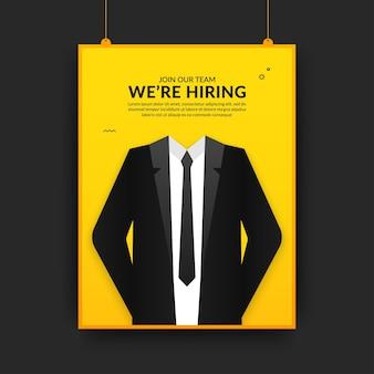 Plantilla de póster de redes sociales de vacante de trabajo mínima, estamos hring fyler con el concepto de traje de hombre de negocios
