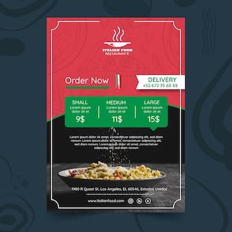 Plantilla de póster para restaurante de comida italiana