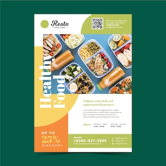 Plantilla de póster de restaurante de comida saludable